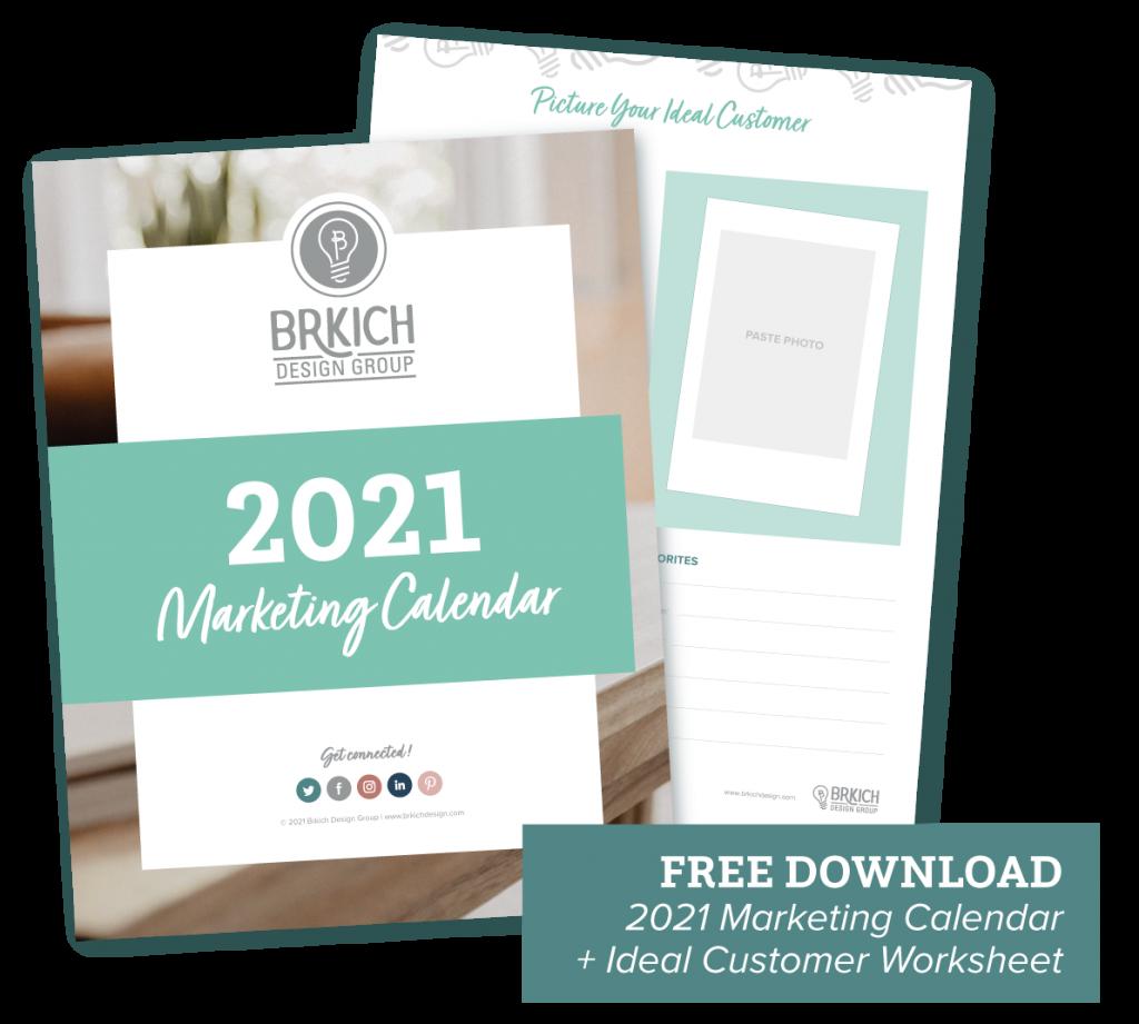 2021 Retail Marketing Calendar Template with customer avatar worksheet